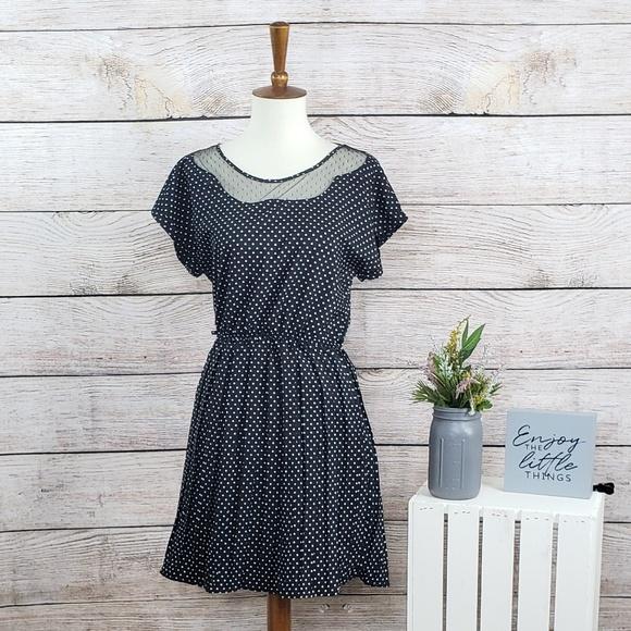 Anthropologie Dresses & Skirts - Anthropologie Bordeaux Polka Dot Black Dress S